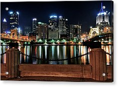 Pittsburgh At Night Acrylic Print by Frozen in Time Fine Art Photography