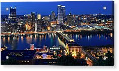 Pittsburgh Blue Hour Panorama Acrylic Print by Frozen in Time Fine Art Photography