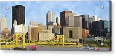 Pittsburgh From Pnc Park Acrylic Print by David Head