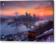 Pittsburgh Skyline Winter 2 Acrylic Print