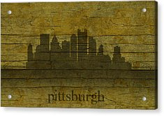 Pittsburgh Pennsylvania City Skyline Silhouette Distressed On Worn Peeling Wood Acrylic Print by Design Turnpike