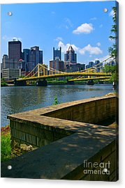 Pittsburgh Pennsylvania Skyline And Bridges As Seen From The North Shore Acrylic Print by Amy Cicconi
