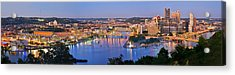 Pittsburgh Pennsylvania Skyline At Dusk Sunset Extra Wide Panorama Acrylic Print by Jon Holiday