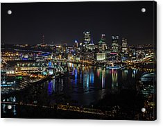Pittsburgh Skyline At Night Acrylic Print by April Reppucci
