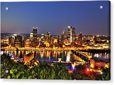 Pittsburgh Skyline At Night Acrylic Print by Shawn Everhart