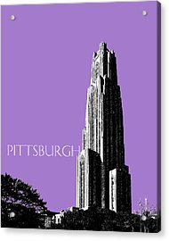 Pittsburgh Skyline Cathedral Of Learning - Violet Acrylic Print