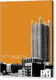 Pittsburgh Skyline Ppg Building - Dark Orange Acrylic Print by DB Artist