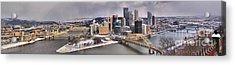 Pittsburgh Snowy Panorama Acrylic Print by Adam Jewell