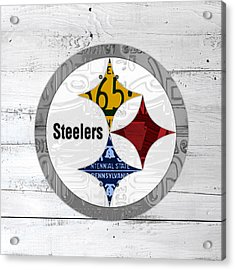 Pittsburgh Steelers Football Team Retro Logo Pennsylvania License Plate Art Acrylic Print by Design Turnpike