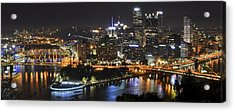 Pittsburgh Three Rivers Panorama Acrylic Print by Frozen in Time Fine Art Photography
