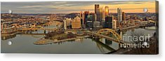 Pittsburgh Winter Sunset Panorama Acrylic Print by Adam Jewell