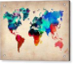 Pixelated World Map Acrylic Print by Naxart Studio