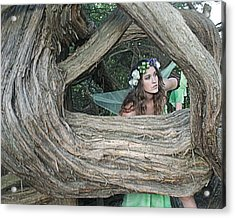 Pixie Looking Through Tree Acrylic Print