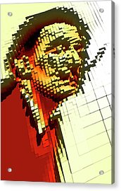 Pixilated Face Acrylic Print by Victor Habbick Visions