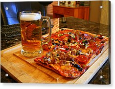 Pizza And Beer Acrylic Print