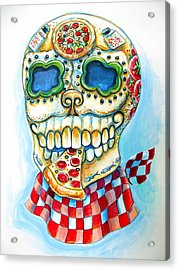 Pizza Sugar Skull Acrylic Print by Heather Calderon