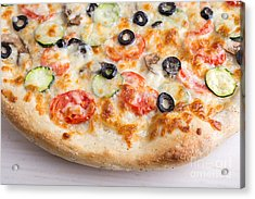 Pizza With Cheese And Vegetables Acrylic Print