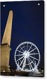 Place De La Concorde And The Ferris Wheel At Christmas Time Acrylic Print by Sami Sarkis