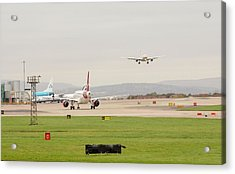Plane Coming In To Manchester Airport Acrylic Print by Ashley Cooper