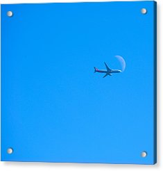 Plane Crossing The Moon Acrylic Print