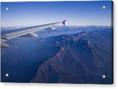 Plane Flying In Mountain Acrylic Print by Ioan Panaite