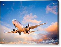 Plane Flying In Sunset Sky Acrylic Print