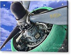 Plane Green Prop Acrylic Print by Paul Ward