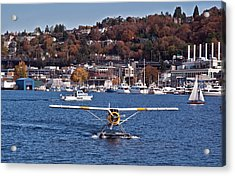 Plane On Lake Union Seattle Acrylic Print