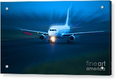 Plane Takes Of At Dusk Acrylic Print by Michal Bednarek