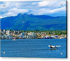 Planes Boats And Mountains In Vancouver  Acrylic Print by Carol Cottrell