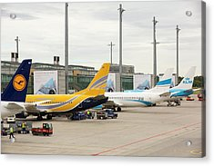 Planes On The Tarmac At Oslo Airport Acrylic Print by Ashley Cooper