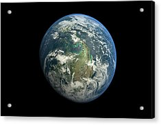Planet Earth Against Black Background Acrylic Print by Vitalij Cerepok / Eyeem