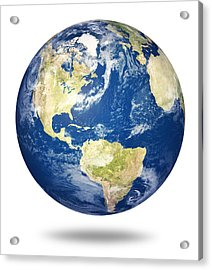 Planet Earth On White - America Acrylic Print by Johan Swanepoel