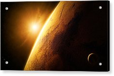 Planet Mars Close-up With Sunrise Acrylic Print by Johan Swanepoel