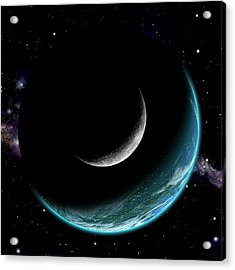 Planet With Moon Acrylic Print