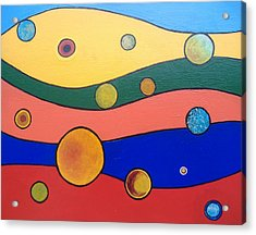 Acrylic Print featuring the painting Planets by Steve  Hester