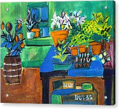 Plants In Potting Shed Acrylic Print by Betty Pieper