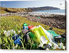 Plastic Rubbish At The Singing Sands Acrylic Print by Ashley Cooper