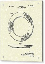 Plate 1937 Patent Art Acrylic Print