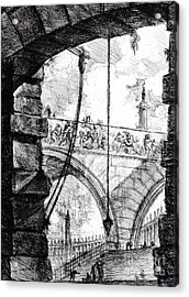 Plate 4 From The Carceri Series Acrylic Print by Giovanni Battista Piranesi