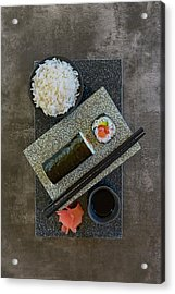 Plate Of Sushi With Rice And Pickled Acrylic Print