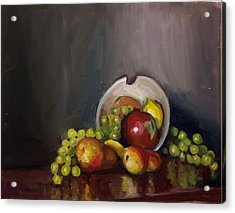 Plate With Fruit Acrylic Print by Nicolas Bouteneff