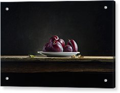 Plate With Plums Acrylic Print by Mark Van crombrugge