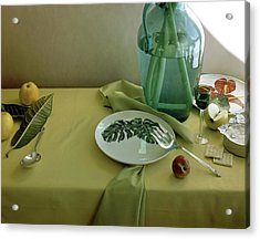 Plates, Apples And A Vase On A Green Tablecloth Acrylic Print by Horst P. Horst