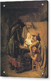 Players At Tric-trac Acrylic Print by Pieter de Hooch