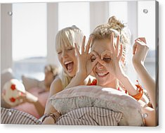 Playful Women Making Faces Acrylic Print by Paul Bradbury