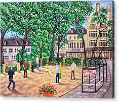 Playing Boules At Betty's Cafe- Harrogate Acrylic Print by Ronald Haber