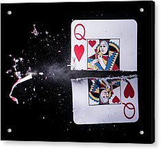 Playing Card Trick Shot Acrylic Print by Herra Kuulapaa � Precires