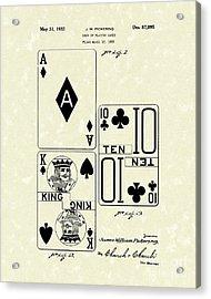 Playing Cards 1869 Patent Art Acrylic Print