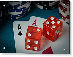 Playing Cards And Dice Used With Gamling Chips Acrylic Print by Brandon Bourdages